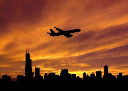 plane arriving Chicago at sunset illustration illustration