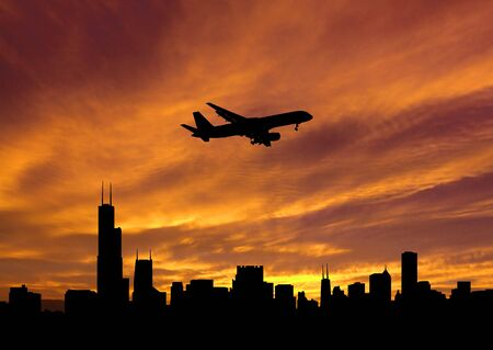 arriving: plane arriving Chicago at sunset illustration