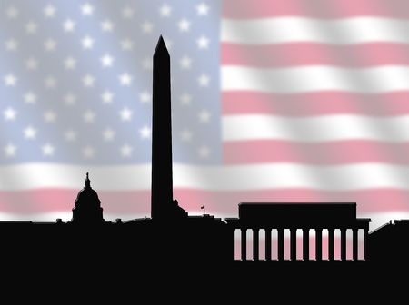 dc: Washington DC skyline against blurred American Flag illustration