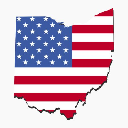 Map of Ohio with American flag illustration