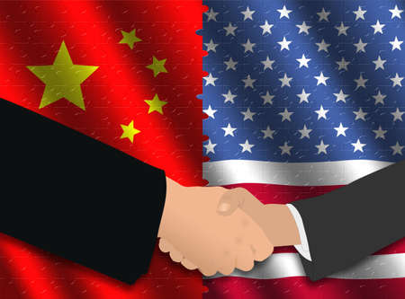 Handshake over Chinese and American flags jigsaw photo