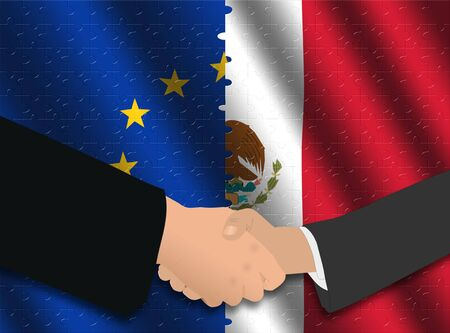 truce: Handshake over EU and Mexican flags with jigsaw effect illustration
