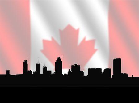 montreal: Montreal skyline against blurred Canadian Flag illustration