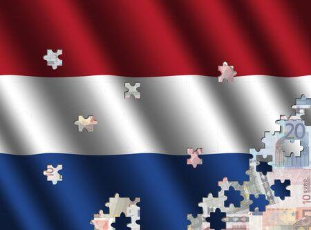 dutch flag: Dutch flag jigsaw over euros illustration