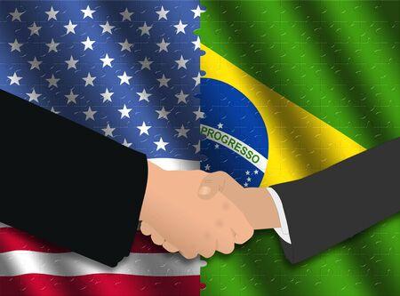 Handshake over American and Brazilian flags with jigsaw effect photo