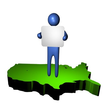 abstract person with sign on USA map illustration illustration