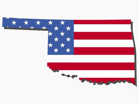 oklahoma: Map of the State of Oklahoma and American flag illustration Stock Photo