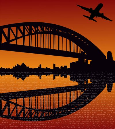 plane departing with Sydney Harbour Bridge at sunset photo