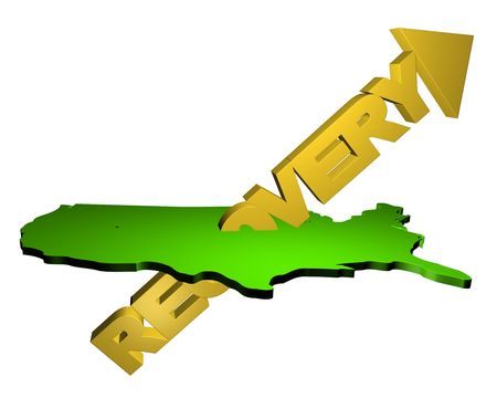 recovery: abstract recovery arrow pointing up through map of USA Stock Photo