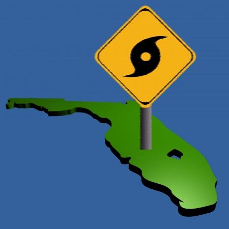 high damage: hurricane warning sign on Florida map illustration