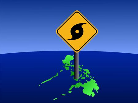Typhoon warning sign on Philippines map illustration illustration