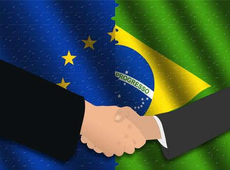 Handshake over EU and Brazilian flags with jigsaw effect photo
