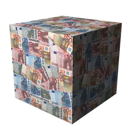 abstract cube covered in European Euros illustration Stock Illustration - 5346744
