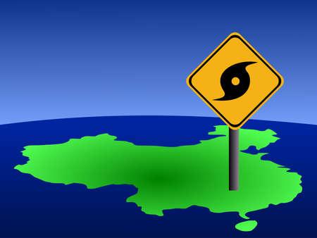 high damage: Typhoon warning sign on China map illustration