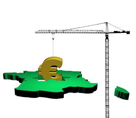 giant crane raising euro symbol from map of France illustration illustration