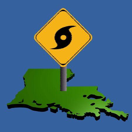 high damage: hurricane warning sign on Louisiana map illustration Stock Photo