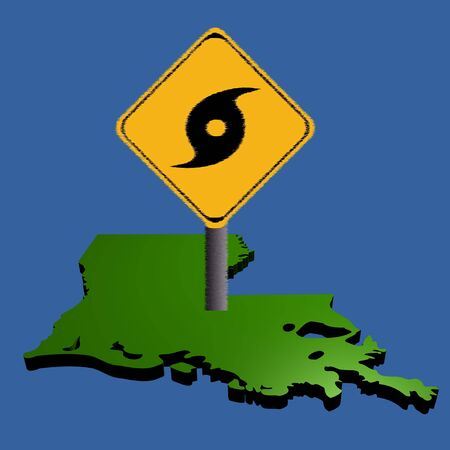 hurricane warning sign on Louisiana map illustration illustration