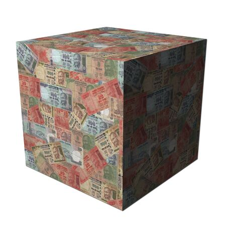 abstract cube covered in Indian Rupees illustration illustration