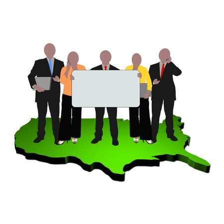 business team with sign on map of USA Stock Photo - 5380485