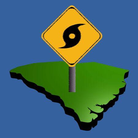 storm damage: hurricane warning sign on South Carolina map illustration
