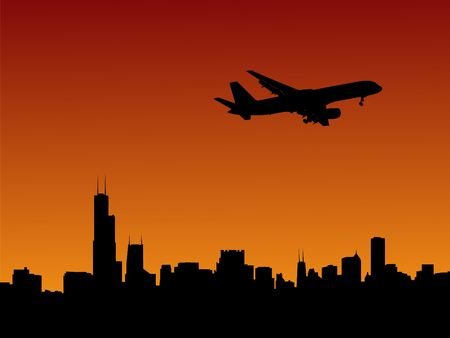 arriving: plane arriving in Chicago at dusk illustration Stock Photo