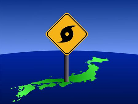 Typhoon warning sign on Japan map illustration illustration