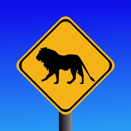 symbol vigilance: warning lion road sign on blue illustration