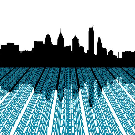 philadelphia: Philadelphia skyline with text foreground illustration