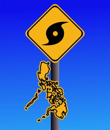 Philippines warning sign with typhoon symbol on blue illustration illustration