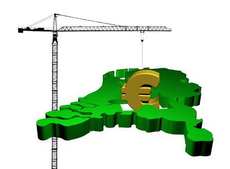 giant crane raising euro symbol from map of Netherlands illustration illustration
