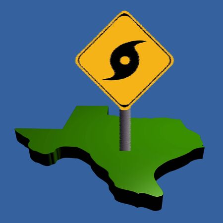 high damage: hurricane warning sign on Texas map illustration Stock Photo