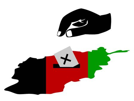 afghan flag: hand voting in Afghan election with map and flag of Afghanistan illustration