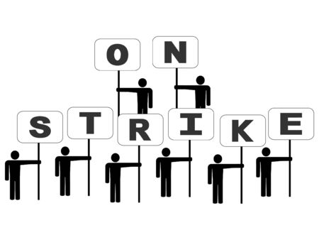 trade union: abstract people on strike with signs illustration Stock Photo