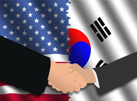south asian: Handshake over American and Korean flags with jigsaw effect illustration