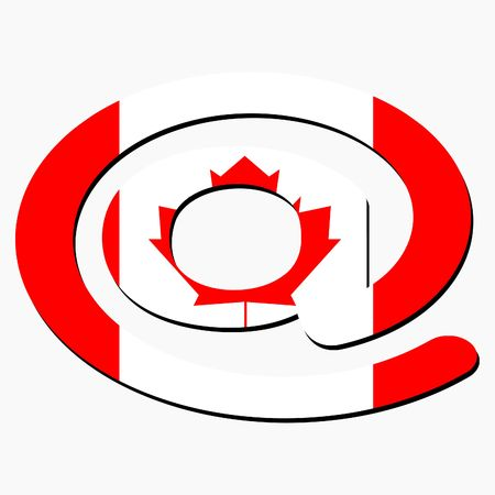 e-mail address AT symbol with Canadian flag illustration illustration
