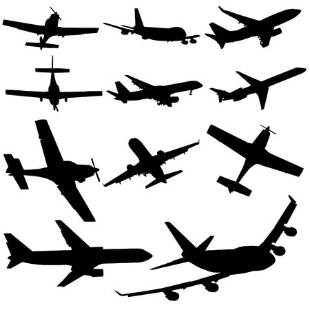 arriving: assorted plane silhouettes arriving and departing illustration Stock Photo