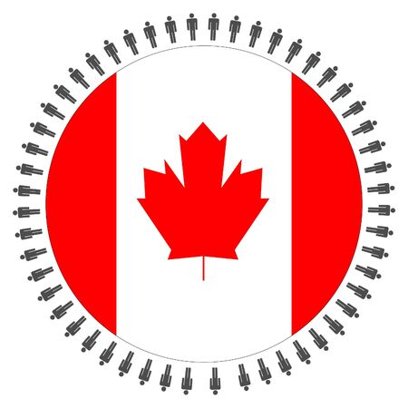 Round Canadian flag with circle of people illustration illustration