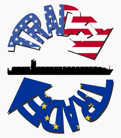 American and EU trade with flags and container ship photo