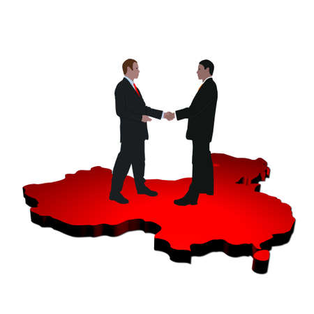 business men shaking hands on map of China photo