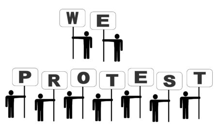 protesting: abstract people protesting with signs illustration