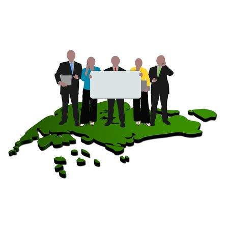 business team with sign on map of Singapore Stock Photo - 5472841