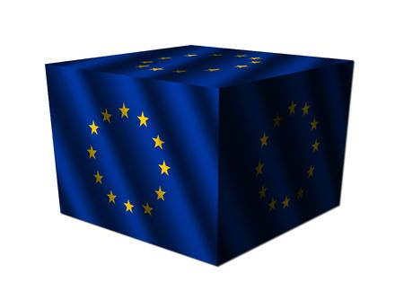 eu: EU flag cube isolated on white illustration