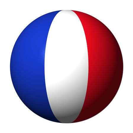french flag: French flag sphere isolated on white illustration