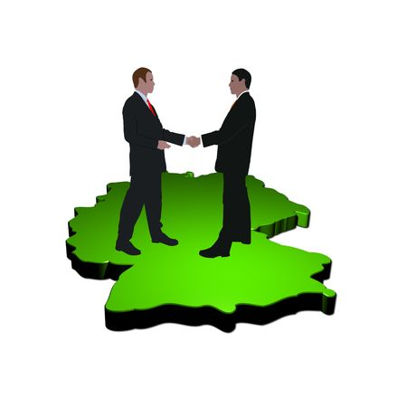 business men shaking hands on map of Germany photo
