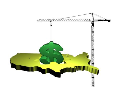 giant crane raising dollar symbol from map of USA illustration illustration