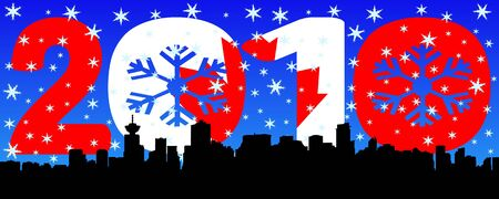 Vancouver skyline with 2010 text Canadian flag and snow flakes photo