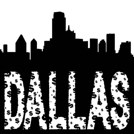 Dallas skyline with grunge dollar text illustration illustration