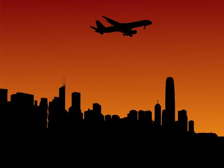 arriving: plane arriving in Hong Kong at sunset illustration Stock Photo