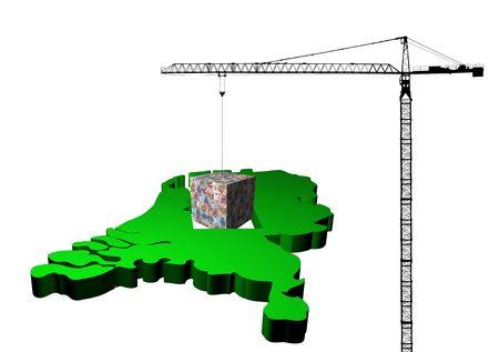crane raising euro cube from map of Netherlands illustration illustration