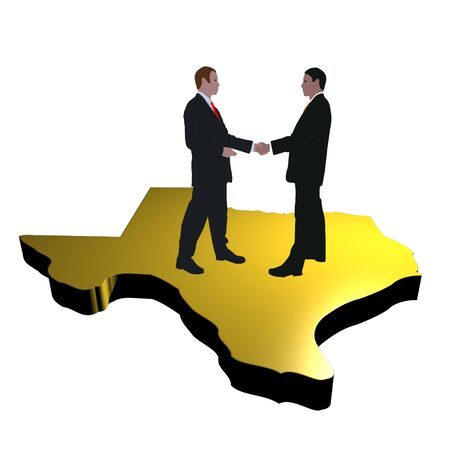 business men shaking hands on map of Texas  photo